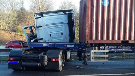 A lorry has been cleared after jack-knifing on the A14. Picture: HIGHWAYS ENGLAND