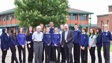 Students at Northgate High School in Ipswich meeting Holocaust survivor Frank Bright and Professor R