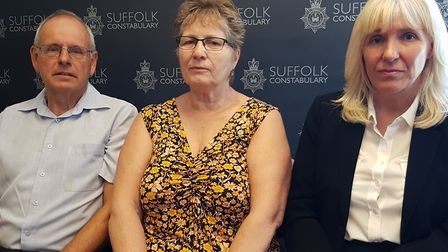 Vicky's parents Graham and Lorinda Hall with DCI Caroline Millar in September PICTURE: RACHEL EDGE