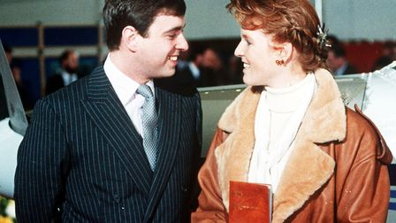 The Duchess of York with then husband the Duke of York after being presented with her private pilot