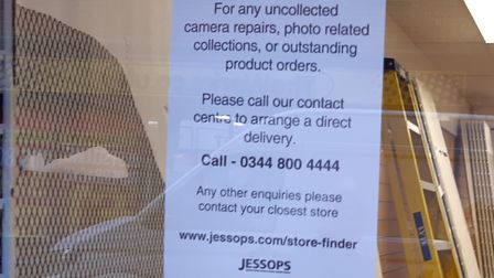 A notice in the window of the Jessops store in the Buttermarket, Ipswich Picture: ARCHANT