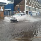 Portman Road is yet again submerged under water as floods become a more regular occurance Picture: