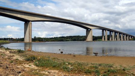 The Orwell Bridge has closed due to high winds caused by Storm Dennis. Picture: MICK WEBB