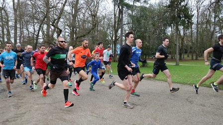 Some of the record-breaking 577 finishers taking part in Ipswich parkrun Picture: MARK KEMPTON
