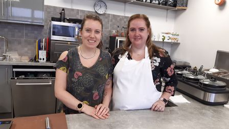 Gemma Dempsey-Gray and Rosie O'Brien at the new Plant Cafe in Ipswich Picture: JUDY RIMMER