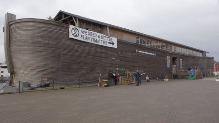 The Extinction Rebellion banner placed on Noah's Ark in Ipswich Picture: EXTINCTION REBELLION