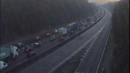 A lorry crash has closed the Orwell Bridge westbound. Picture: HIGHWAYS ENGLAND