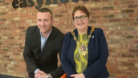 Group operations director Iain Goswell and Mayor of Ipswich, Jane Riley, at the launch of Ipswich ea