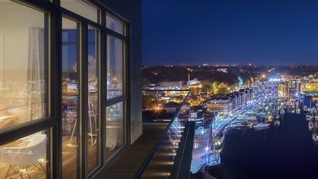 View from the penthouse suite on the 18th floor of the new Winerack apartments at Ipswich waterfront