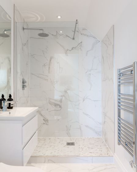 An ensuite bathroom in the three-bed penthouse suite in the Winerack at Ipswich Docks. Picture: WHAT