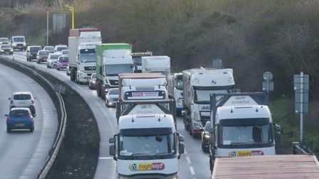 Traffic has been worsened by another crash on the A14 between junctions 54 and 55 Picture: SARAH LU