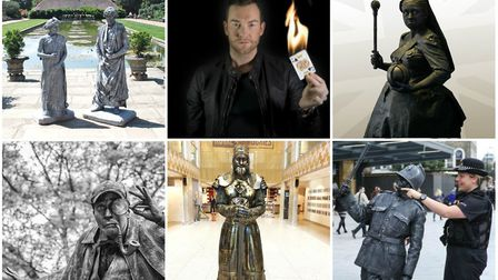 Some of the living statues coming to Ipswich Cornhill, together with Stephen the Magician Pictures: