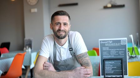 Lewis Clarke, one of the owners of the new Crescent Cafe in Felixstowe Picture: SARAH LUCY BROWN