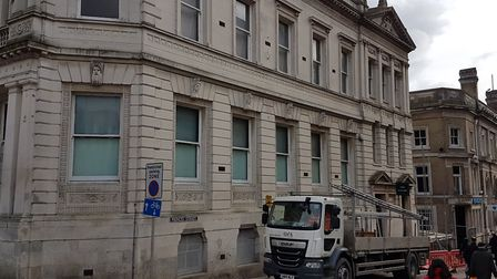 Work has finally started on renewing the Old Post Office on Ipswich Cornhill. Picture: PAUL GEATER