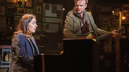 Emma Lucia as Girl and Daniel Healy as Guy in the New Wolsey Theatre's production of Once which is c