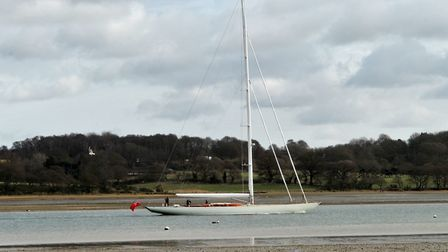 The superyacht had to wait until low tide to pass under the Orwell bridge. Picture: SARAH LUCY BROW