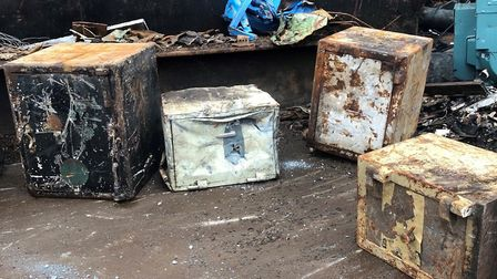 The dumped safes found at Sackers's scrapyard Picture: HELEN CRAPNELL