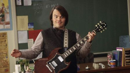 Hollywood star Jack Black in the movie version of School of Rock, the film that inspired the stage m