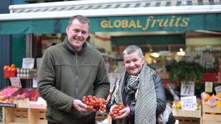 Daniel Murton of Global Fruits with Anna Matthews, whose late husband, Cliff, was a driving force b