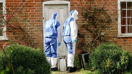 Forentic teams at the scene in Capel St Mary. Picture: EAST ANGLIA NEWS SERVICE