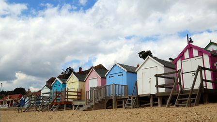 Beach huts along the seafront at Felixstowe Picture: MICK WEBB