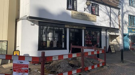 The electrical work outside Twist 'N' Shout is due to finish in a day or two. Picture: ARCHANT