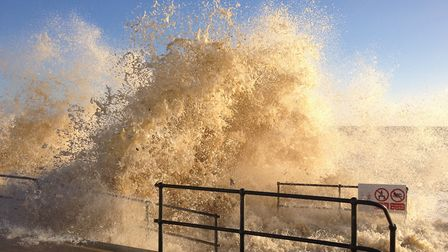 Pounded: Southwold promenade in 2013 Picture: EDWARD MUNN