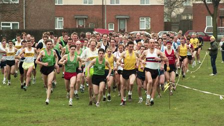 Runners set off around Landseer Park as they raced in a cross country event around the park Picture