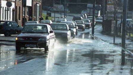 Ipswich saw heavy rain as roads around the area flooded from the weather Picture: RICHARD SNASDELL