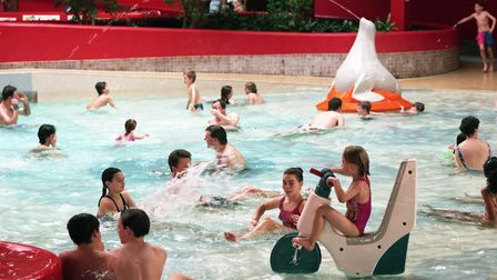 Crown Pools was busy with families spending time enjoying the swimming pools Picture: RICHARD SNASD