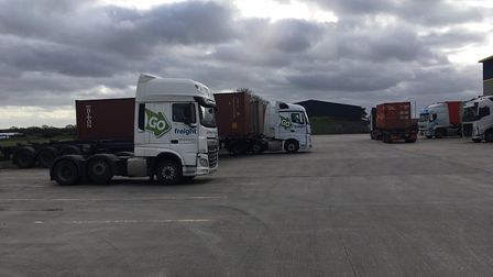 Go Freight liveried vehicles in a yard near its headquarters in The Havens, Ipswich Picture: SARAH