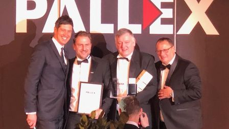Left to right Vernon Kay, Olly Magnus, Magnus boss Kev Parker and Pallex chief executive Kevin Bucha