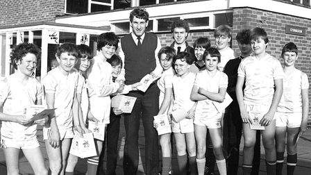 Terry Butcher presents awards to children at Westbourne School Picture: IVAN SMITH