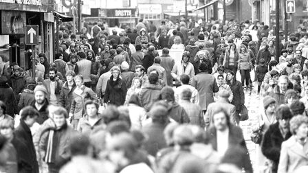 Large crowds walking through the town centre Picture: JAMIE NIBLOCK