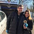 Emmerdale actors Jeff Hordley who plays Cain Dingle, and Katherine Dow Blyton Who plays Harriet Finc