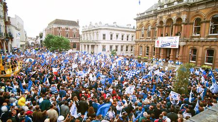 Thousands of Ipswich Town fans attended the play-offs celebrations at the Cornhill in 2000 Picture: