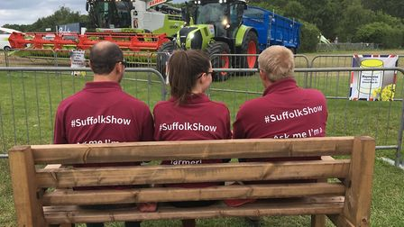 The magic of the Suffolk Show. Farming Live last year. Stewards watch as the farm machinery display