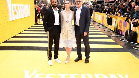 Himesh Patel, Lily James and Danny Boyle at the Yesterday UK premiere in London Picture: Ian
