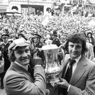Ipswich Town captain Mick Mills with Roger Osborne, who scored the winning goal against Arsenal in t