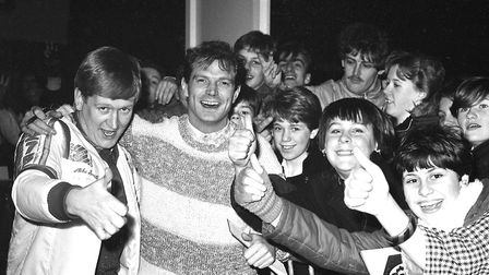 Mike Smith and Peter Powell when they brought the Radio 1 Roadshow to Ipswich in 1984 Pict