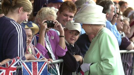 The Queen greeting members of the crowd along the Waterfront in Ipswich on her Golden Jubilee visit
