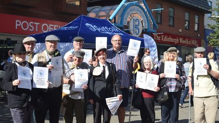 Campaigners from the Save Our Record Office (Soro) Group, staging a protest by Suffolk County Counci