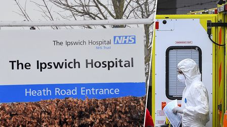 Ipswich Hospital has confirmed 14 coronavirus deaths - inset, a paramedic wearing protective equipme