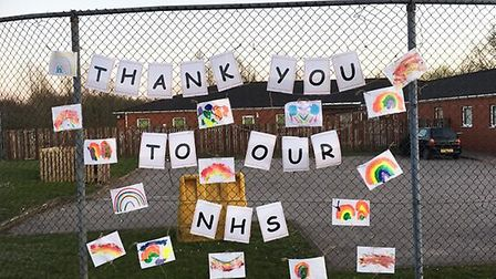 A Busy Bees Nursery display created by children to make NHS staff smile Picture: BUSY BEES