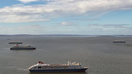 The four Fred. Olsen ocean going ships -- Balmoral, Braemar, Boudicca and Black Watch -- in the Firt