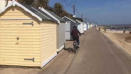 Some of the 55 huts stranded on Felixstowe prom since losing their beach sites due to erosion Pictur
