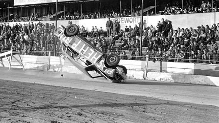 Car flies across the Foxhall race track towards the spectators Picture:ARCHANT
