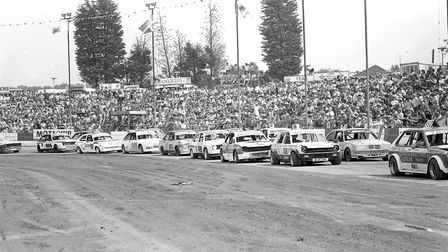 Packed stands to watch the World Hot Rod Final at Foxhall Stadium in 1984 Picture: DAVID KINDRED