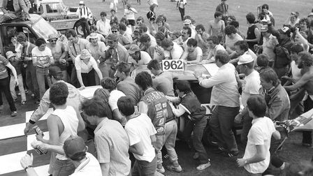 Crowds gathers to celebrate the winner of the World Hot Rod Finals at Foxhall Stadium in 1985 Pictur