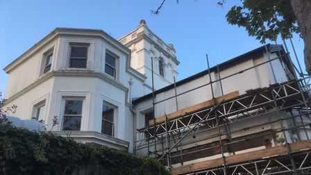 Scaffolding shrouds part of South Beach Mansion at Felixstowe as conversion work takes place Picture